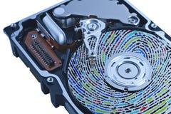 困难色的磁盘驱动器的指纹 免版税库存照片