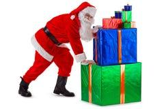困难s圣诞老人工作 免版税图库摄影