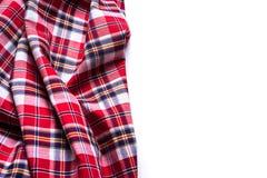 围巾平的位置有圣诞节格子呢纹理的在白色backgro 免版税库存图片