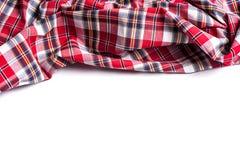 围巾平的位置有圣诞节格子呢纹理的在白色backgro 免版税库存照片