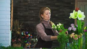 围裙的一个妇女卖花人,站立在花店的柜台,准备花束 股票录像