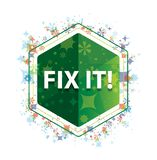固定它!花卉植物仿造绿色六角形按钮 向量例证