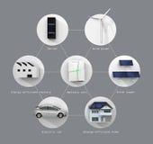 固定式电池系统的例证 (与文本) 库存照片