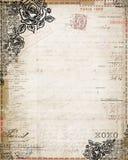 固定式葡萄酒破旧的别致玫瑰法国的发票 向量例证