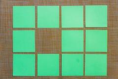 固定式,删去在布朗委员会的绿色贴纸 平的位置 顶视图 定期管理,计划 图库摄影