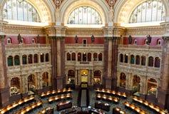 国会图书馆的内部在华盛顿特区,阅览室的 免版税库存图片