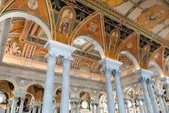国会图书馆的内部在华盛顿特区,阅览室的 免版税库存照片
