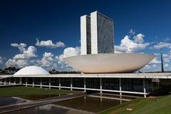 有旗子的巴西国会在背景中在巴西利亚 免版税图库摄影