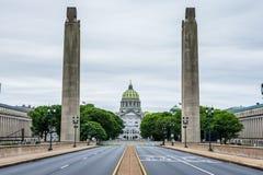 国会大厦大厦在哈里斯堡,从soilders a的宾夕法尼亚 库存图片