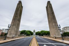 国会大厦大厦在哈里斯堡,从soilders a的宾夕法尼亚 免版税库存图片