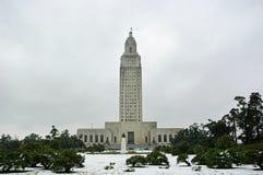 国会大厦路易斯安那雪 免版税库存照片