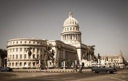 国会大厦,哈瓦那-葡萄酒 免版税图库摄影