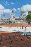 国会正方形在布宜诺斯艾利斯,阿根廷 图库摄影