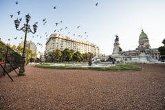 国会正方形在布宜诺斯艾利斯,阿根廷 库存照片