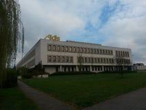 国会,陈列和善社交的中心奥尔蒂斯,往晚上,在赫拉德茨Kralove,捷克 库存图片