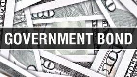 国债特写镜头概念 美国美元现金金钱, 3D翻译 在美元钞票的国债 财政美国金钱 皇族释放例证