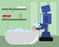 国内妇女的机器人洗涤的头发浴缸的 免版税库存图片