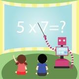 国内对小女孩和男孩的机器人教的算术 免版税库存照片