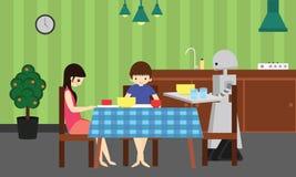 国内机器人带来年轻男孩和女孩的食物 免版税图库摄影