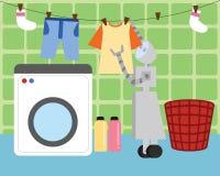 国内机器人洗涤的和垂悬的衣裳烘干 免版税库存图片