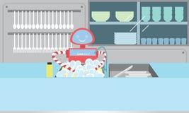 国内机器人洗涤的盘在厨房里 库存照片