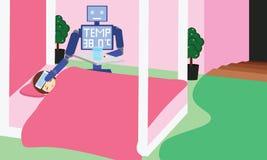 国内机器人测量的热病和给药片女孩孩子 免版税库存图片