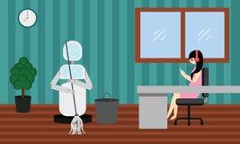 国内机器人清洁在屋子里,当妇女是松弛和听的音乐时 免版税库存图片