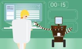 国内机器人给他的女性所有者带来咖啡在现代办公室 免版税库存图片