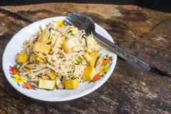 国内泰国餐馆可以容易地被做引起被射击的面条菜单 库存图片