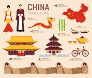 国家中国旅行物品、地方和特点假期指南  套建筑学,时尚,人们,项目,自然 免版税库存照片
