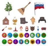 国家俄罗斯,旅行动画片,在集合收藏的平的象的设计 吸引力和特点传染媒介标志股票网 皇族释放例证