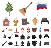 国家俄罗斯,旅行动画片,在集合收藏的黑象的设计 吸引力和特点导航标志股票 皇族释放例证