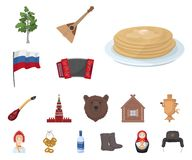 国家俄罗斯,旅行在集合汇集的动画片象的设计 吸引力和特点传染媒介标志股票网 皇族释放例证