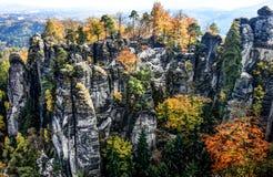 国家公园撒克逊人的瑞士Bastei在德国 免版税库存照片