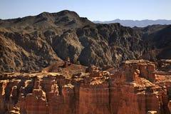 国家公园Sharyn峡谷(城堡谷) 卡扎克斯坦 免版税库存照片