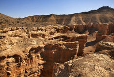 国家公园Sharyn峡谷(城堡谷) 卡扎克斯坦 库存图片