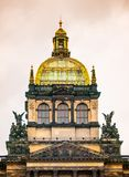 国家博物馆中央圆屋顶详细的看法在布拉格,捷克 免版税库存照片