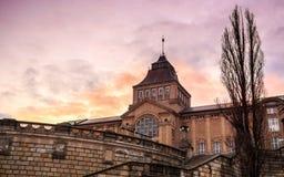 国家博物馆在日落的Szczecin 库存照片