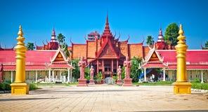 国家博物馆,金边,柬埔寨入口  免版税库存照片
