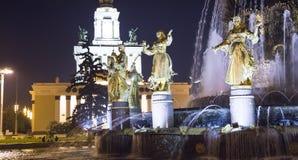 国家喷泉友谊 --VDNKH全俄罗斯展览会,莫斯科,俄罗斯 图库摄影