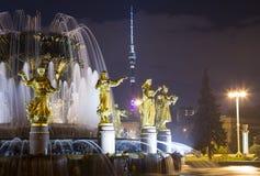 国家喷泉友谊 --VDNKH全俄罗斯展览会,莫斯科,俄罗斯 库存照片