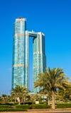 国家塔在阿布扎比,阿拉伯联合酋长国 免版税库存照片