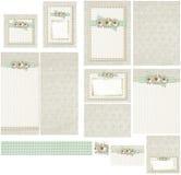 国家工艺在黄麻和绿色方格花布婚礼邀请集合的雏菊花 免版税库存照片