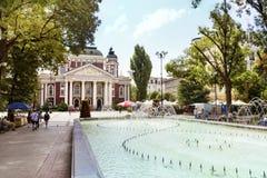 国家戏院伊冯Vazov和喷泉在索非亚,保加利亚 免版税库存图片