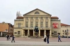 国家戏院Deutsches Nationaltheater和Staatskapelle威玛大厦的看法在威玛 免版税库存照片