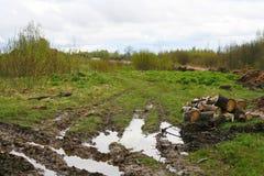 国家村庄路风景 车轮的轮胎踩 一条土气乡下公路在普斯克夫地区,俄罗斯, 库存照片