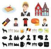 国家比利时动画片,在集合收藏的黑象的设计 旅行和吸引力比利时导航标志储蓄网 库存例证