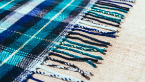 国家毛织物品 老苏格兰格子花呢披肩的边缘 免版税库存照片