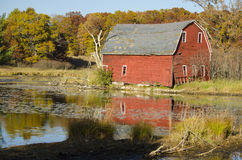国家池塘的老红色谷仓 免版税库存照片