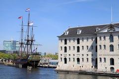 国家海洋博物馆展出和17分荷兰航行货船  免版税库存图片